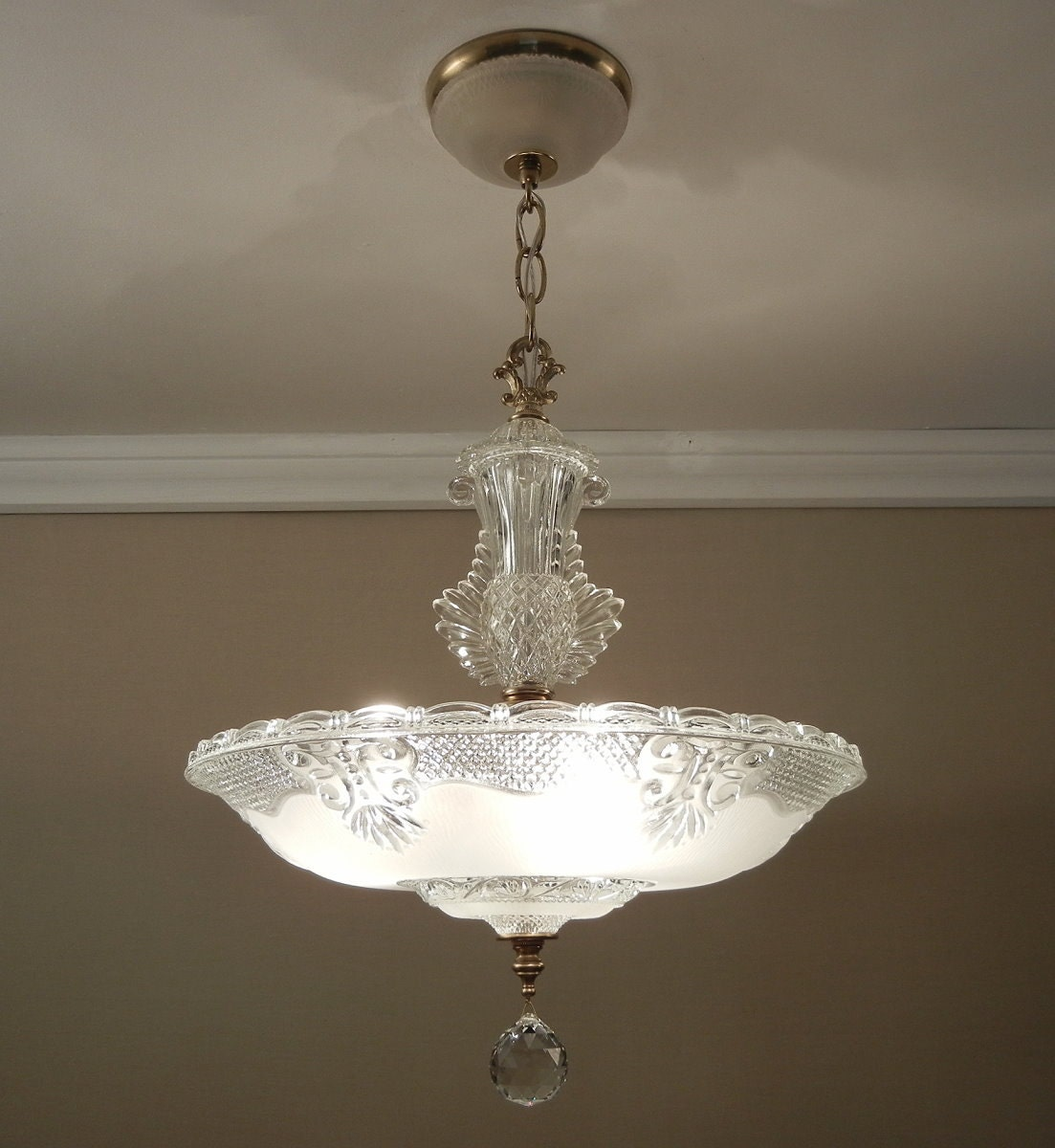 antique light chandelier 1930 40 39 s vintage crystal frosted. Black Bedroom Furniture Sets. Home Design Ideas
