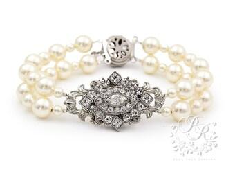 Wedding Bracelet Swarovski Pearl Swarovski Clear Crystal Bracelet Bridal Bracelet Wedding Jewelry Wedding Accessory Bridal Jewelry rhombus