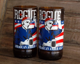 Rogue American Ale Patriotic Beer Bottle Glasses- Set of 2 Pint Glasses  Patriot glasses