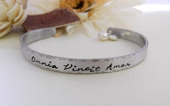 Omnia Vincit Amor Bracelet- Love Conquers All Bracelet- Hand Stamped Bracelet- Cuff Bracelet- Aluminum Cuff Bracelet- Omnia Vincit Amor