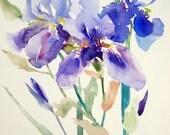 "Blue Irises, Original watercolor painting, 15"" x 11"", floral garden blue wall art, minimalist impressionism"