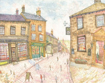 HAWORTH ART PRINT, Watercolor Yorkshire England Pub, Bronte Country Wuthering Heights, Apothecary Main Street, Giclee Print Clare Caulfield