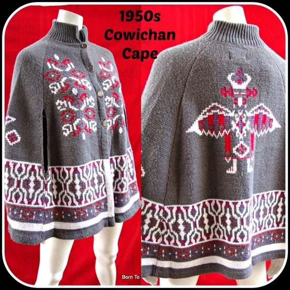 Cape,Poncho,sweater,coat, vintage 1950s 1960s, Cowichan, Indian ethnic design, Sturbridge Roosevelt, Mad Men, hippie, boho, southwestern
