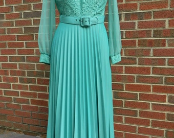 Vintage 70s Grecian Disco Maxi Pleated Green Lace  Cocktail Party Boho Dress