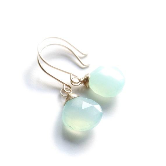 Mint Green Chalcedony Earrings, Gemstone Earrings, Seafoam Earrings, Gemstone Teardrop, Gold Earrings, Gold Filled, Landon Lacey, Minimal