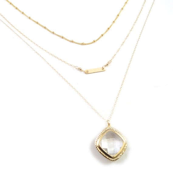 Gold Layer Necklace, Gold Bar Necklace, 14k Gold Filled Necklace, Satellite Necklace, Satellite Chain, Dew Drop Necklace, Delicate Necklace
