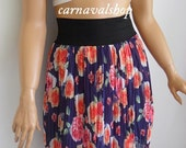 Navy Blue roses chiffon skirt,summer skirt