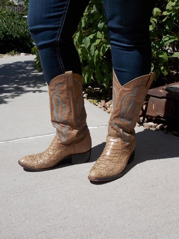 Vintage Larry Mahan Snakeskin cowboy boots womens size 8 1/2