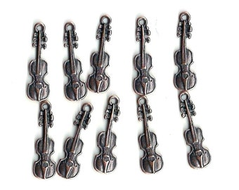 Copper Charms: Violins, 25x7mm, Set of 10, Copper Violins, Instrument Charm, Orchestra Charm, Band Charm, Musical Charm, Music Charm, COP003