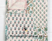 Twin Kantha Quilt, Patchwork Quilt, Twin Bed Cover, Kantha Twin Blanket, Indian Bedspread, Kantha bedspread, Bohemian Bedding