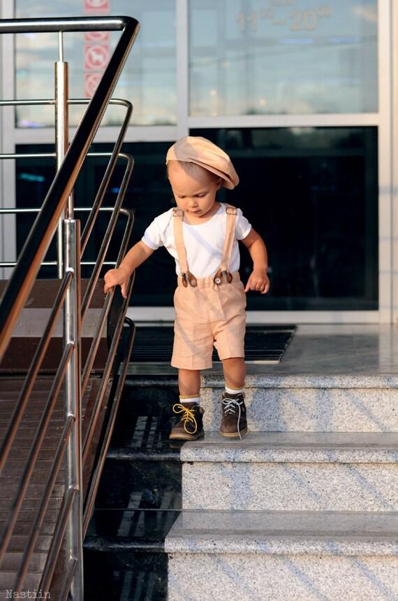 Baby Boy Formal Wear Set Beige News Boy Cap Shorts With
