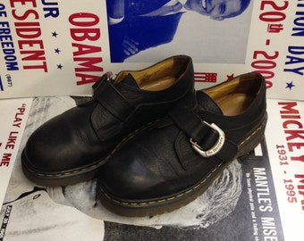 Vintage 80's / 90's Black Dr. Martens Mary Janes with Buckle Size 10 (UK) / 11 (US)