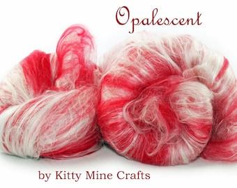 Opalescent Luxury Art Batt - Candy Cane - Merino Wool, Milk Silk, Viscose - Drum Carded Roving - Felting, Spinning - Christmas