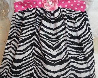 Toddler Girls Zebra Dress Sundress with Pink - Handmade Irish Rose - Black and White  with Pink Polka Dot Trim - Sizes 2T, 3T, and 4T