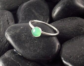 Apple Green Chrysoprase Stacking Ring, Sterling silver ring, narrow band ring, chryospase ring, handmade stacking rings
