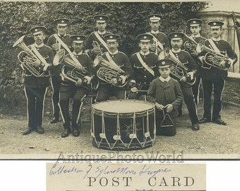 Music band with tuba drum outdoors antique photo