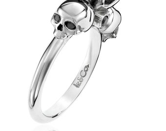 White Gold 1ct Black Diamond Skull Ring