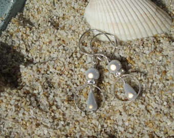 White 3D Beaded Earrings