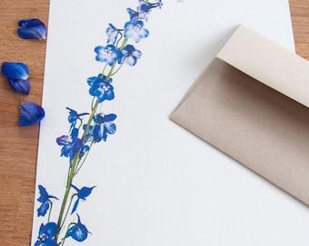 Letter Writing Stationery - Blue Delphinium Stalk - Letter Set