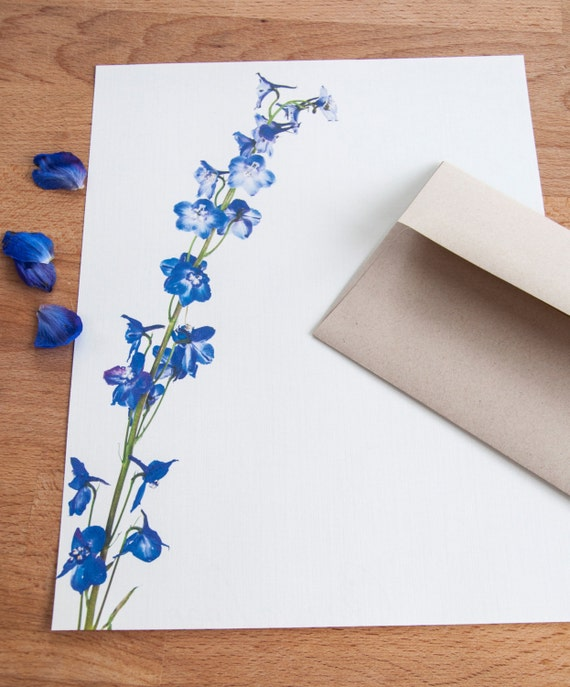 letter stationery letter writing stationery blue delphinium stalk letter set 23156 | il 570xN.599557086 cia3