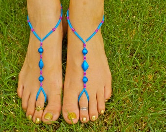Blue, Pink and Purple Barefoot Sandals and Toe Ring, Foot Thong, Slave Anklet, Ankle Bracelet