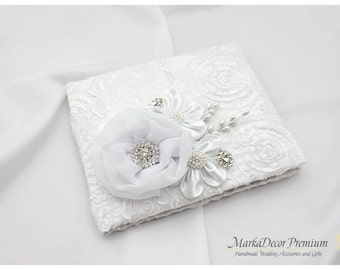 READY TO SHIP Wedding Lace Guest Book Custom Jeweled Bridal Flower Brooch Guest Books in White with Flowers, Jewels, Crystals, Rhinestones