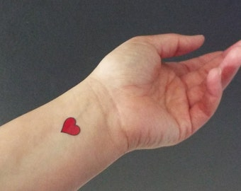 Red heart tattoo etsy for Small heart tattoos on wrist