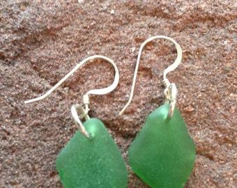 Earrings - sea glass - Sterling silver