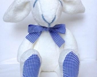 Plush bunny, rabbit, stuffed, white, blue, Easter bunny - baby shower toy - baby boys
