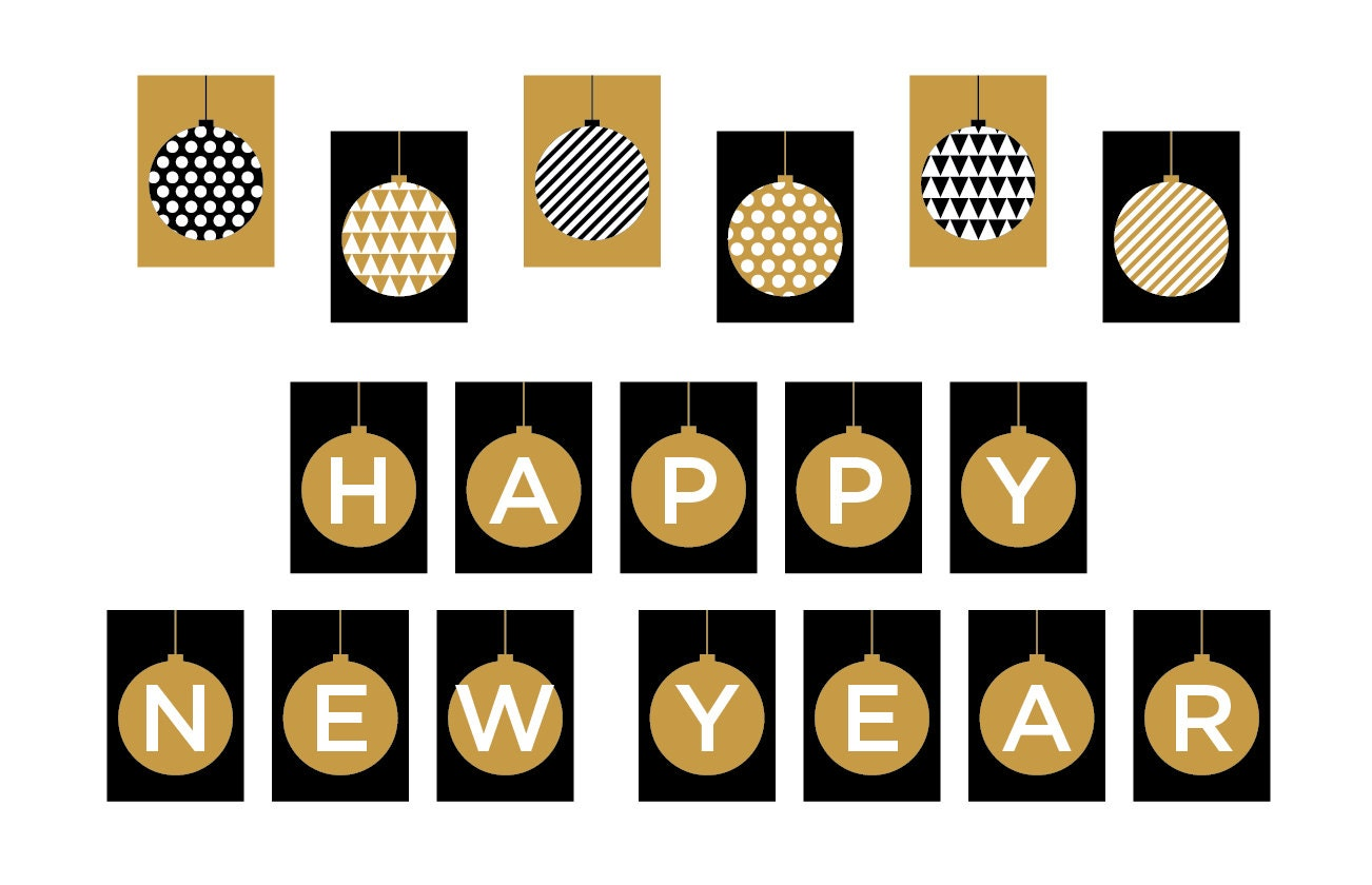 It's just an image of Unusual Happy New Years Banner Printable