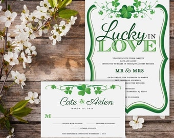 Lucky In Love – Wedding Invitation (Digital File) JUST INVITE- No rsvp card