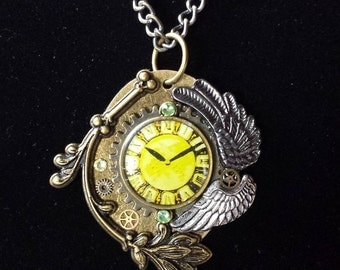 Steampunk Wings of Time Necklace