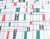 Mid Century Geometric Barkcloth Fabric Cofabco VAT Print