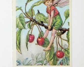 Cherry Tree Fairy, Flower Fairies Picture, Cicely Mary Barker Print, Nursery Art, Fairy picture