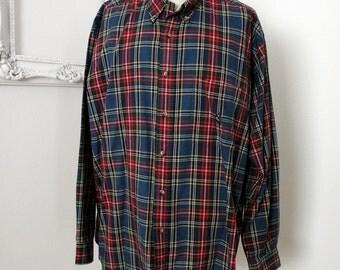 Nautica Vintage Blue Plaid Cotton Shirt Men Sz XL Tall