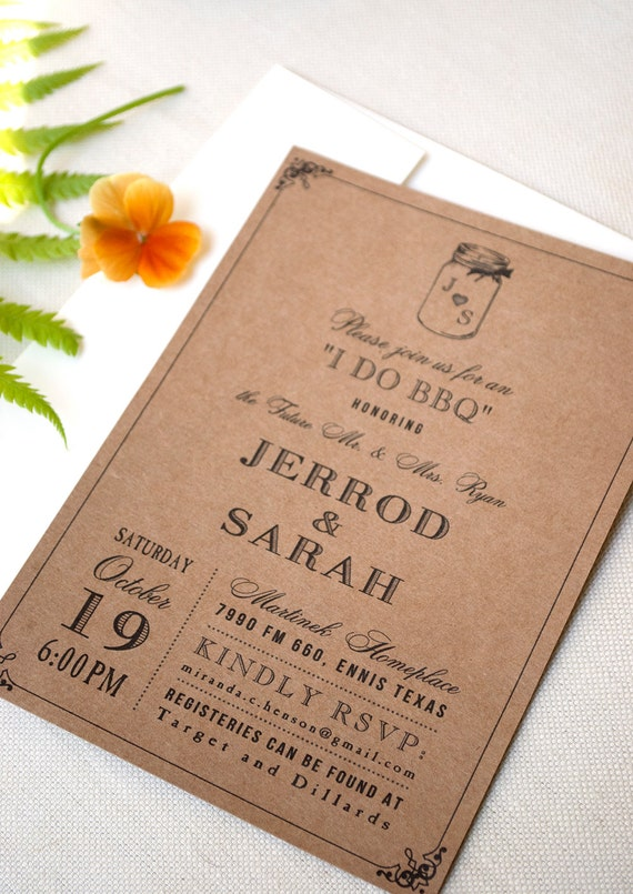 Items similar to kraft brown mason jar engagement party for Etsy engagement party invites