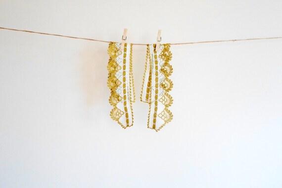 LACE TRIM // Crochet Lace Trim, Crochet special 2 pcs lace edging for towel, runner, gold, scarf  etc. home decor, kitchen, bathroom,