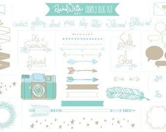 Quirky Blog Kit in Aqua, AI EPS PNG files