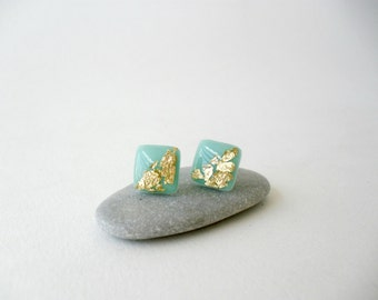 Mint and gold square post earrings- Stylish polymer clay stud earrings- Bridesmaids gift idea