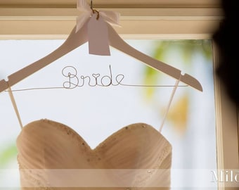 Personalised Wedding Dress Hanger with Flower or Bow