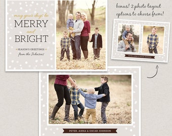 Christmas Card Template for photographers - Photoshop template PSD 5x7 flat card - Elegant Winter CC005 - INSTANT Download