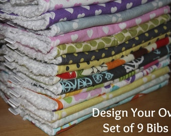 DESIGN YOUR OWN - Set of 9 Baby/Toddler Chenille Bibs - You Choose Your Fabric