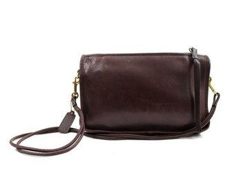 Coach burgundy leather shoulder bag / vintage 70s distressed oxblood leather purse / made in NYC