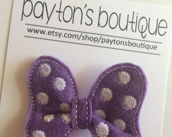 Purple Felt Classic Mouse Bow Boutique Clip