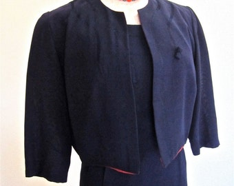 L 40s 50s 2pc Rayon Suit Dress Set Navy Blue Cropped Jacket Vintage Day Office Outfit Large