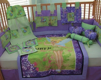 Tinkerbell Fairy Pixie Hollow Green Purple 12 Piece Baby Bedding Crib Set