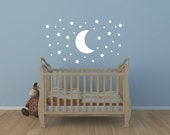 Star Decal - Star And Moon Wall Decal - Childrens Wall Decal - Nursery Wall Decal - Baby Wall Decal