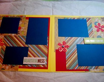 """Beautiful Mess Scrapbook Page - 12"""" x 12"""" Premade Scrapbook Double Pages, Look What I can Do,Children Photos, Family Photos"""