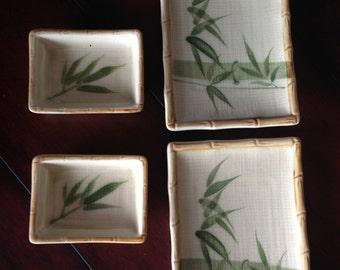 4 Piece Sushi Plate Set, Bamboo Sushi Set, Plates and Dipping Bowls, Sushi Lot, Sushi Sauce Plates, Namboo Design Ceramics