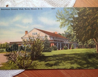 Vintage Postcard, Benvenue Country Club, Rocky Mount, North Carolina, 1940s Linen Paper Ephemera